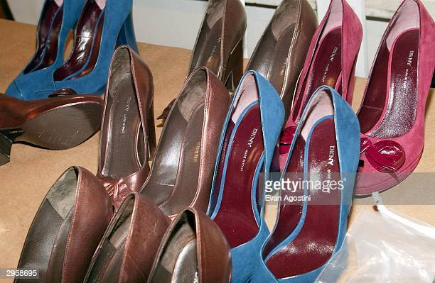 Shoes are seen backstage during the DKNY Fall 2004 fashion show at Bryant Park during the Olympus 2004 Fashion Week February 9 2004 in New York City