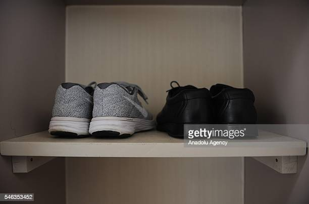 Shoes are seen in a storage space at the appartment of minimalist Katsuya Toyoda in Tokyo Japan on July 02 2016 Katsuya Toyoda an online publication...