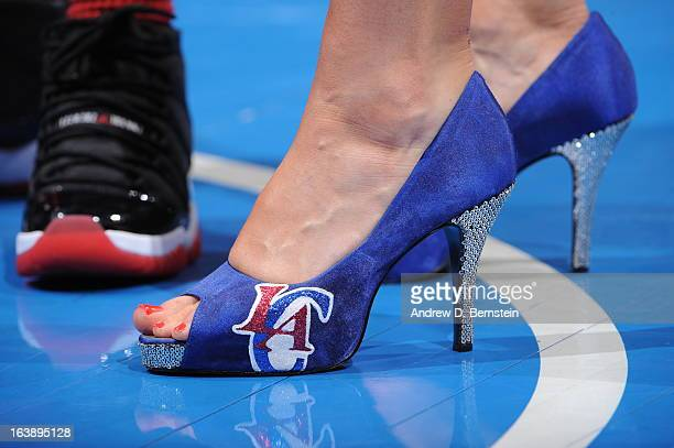 Shoes are seen with the Los Angeles Clippers logo during the game between the Los Angeles Clippers and the New York Knicks at Staples Center on March...