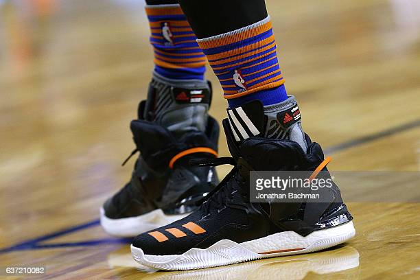 ADIDAS shoes are seen worn by Derrick Rose of the New York Knicks during a game against the New Orleans Pelicans at the Smoothie King Center on...