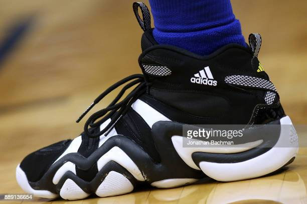 ADIDAS shoes are seen worn by Nick Young of the Golden State Warriors during the second half of a game against the New Orleans Pelicans at the...