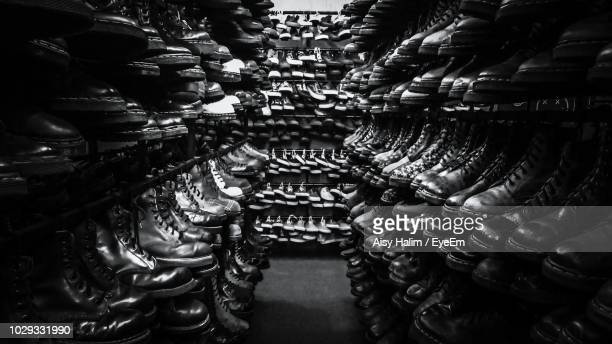 shoes arranged on shelves in store - eyeem collection stock pictures, royalty-free photos & images