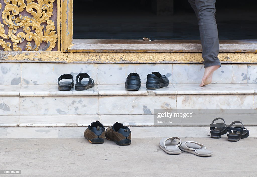 Shoes at Buddhist Temple Entrance : Stock Photo