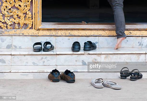 Shoes at Buddhist Temple Entrance