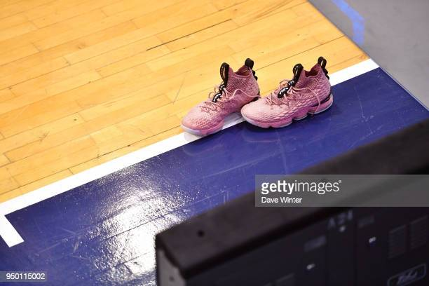 Shoes belonging to Ivan Fevrier of Levallois during the Jeep Elite match between Levallois Metropolitans and Dijon at Salle Marcel Cerdan on April 22...