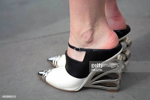 Shoes by Niholas Kirkwood spotted on day 2 of London Fashion Week SS 2015 on September 13 2014 in London England