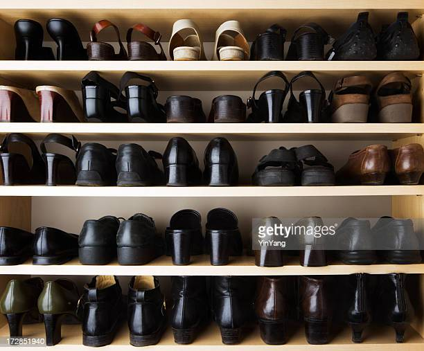 shoes closet organization with rack shelf storage compartment - rack stock pictures, royalty-free photos & images