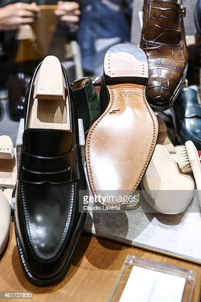 Shoes detail of Bally presentation during the Milan Menswear Fashion Week/Fall Winter 2015/2016 on January 18 2015 in Milan Italy