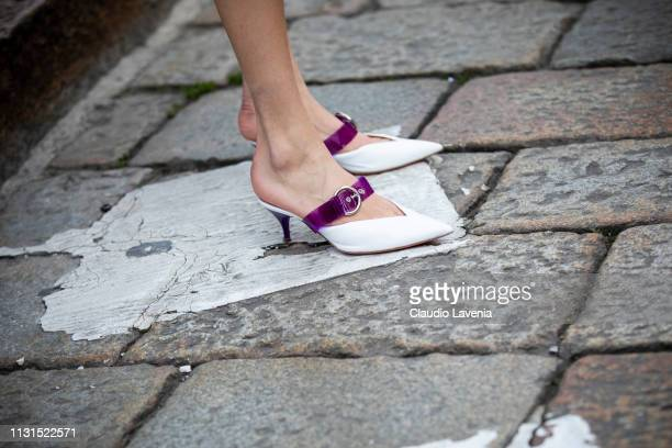 Shoes details is seen outside Blumarine on Day 3 Milan Fashion Week Autumn/Winter 2019/20 on February 22 2019 in Milan Italy