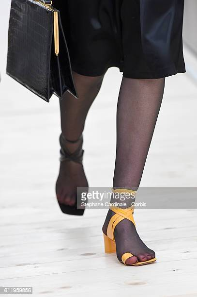 Shoes details the runway during the Celine show as part of the Paris Fashion Week Womenswear Spring/Summer 2017on October 2 2016 in Paris France