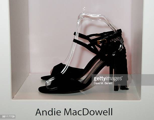 Shoes donated by Andie MacDowell are displayed at the aftershow party following the UK premiere of In Her Shoes at the Grosvenor House Hotel on...
