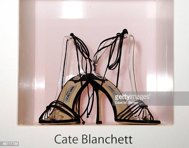 Shoes donated by Cate Blanchett are displayed at the aftershow party following the UK premiere of In Her Shoes at the Grosvenor House Hotel on...