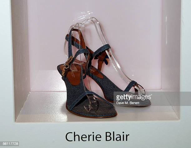 Shoes donated by Cherie Blair are displayed at the aftershow party following the UK premiere of In Her Shoes at the Grosvenor House Hotel on November...