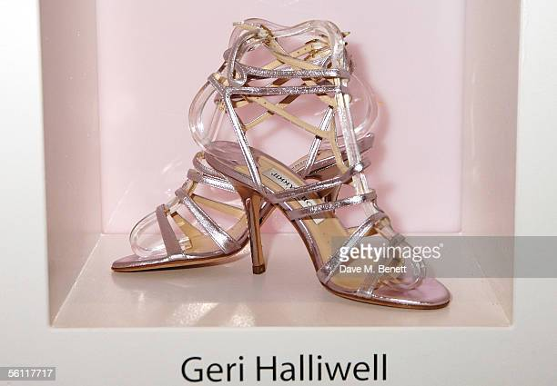 Shoes donated by Geri Halliwell are displayed at the aftershow party following the UK premiere of In Her Shoes at the Grosvenor House Hotel on...