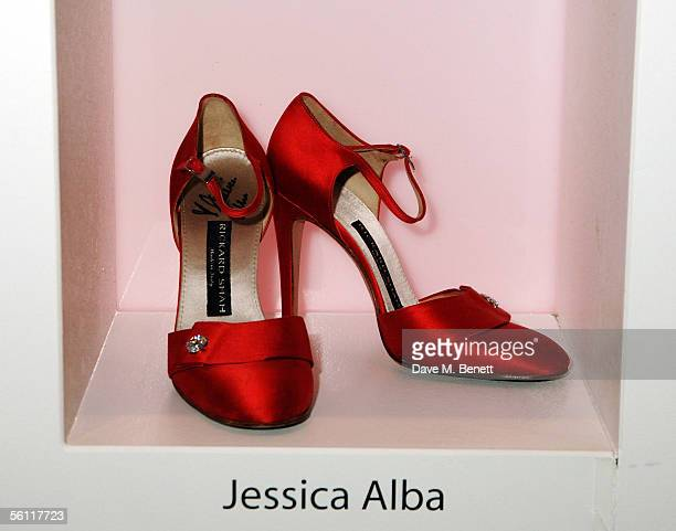 Shoes donated by Jessica Alba are displayed at the aftershow party following the UK premiere of In Her Shoes at the Grosvenor House Hotel on November...