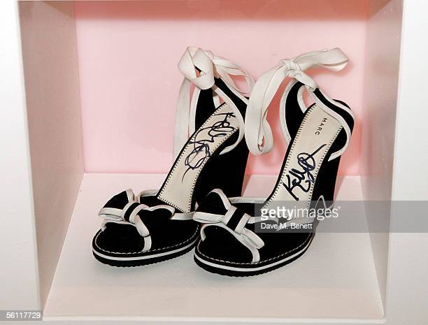 Shoes donated by Kelly Osbourne are displayed at the aftershow party following the UK premiere of In Her Shoes at the Grosvenor House Hotel on...