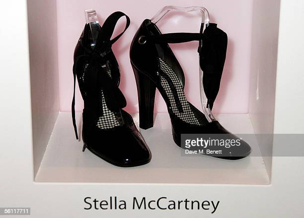 Shoes donated by Stella McCartney are displayed at the aftershow party following the UK premiere of In Her Shoes at the Grosvenor House Hotel on...