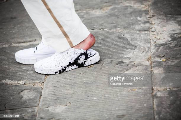 Shoes fashion details is seen during Pitti Immagine Uomo 92 at Fortezza Da Basso on June 15 2017 in Florence Italy