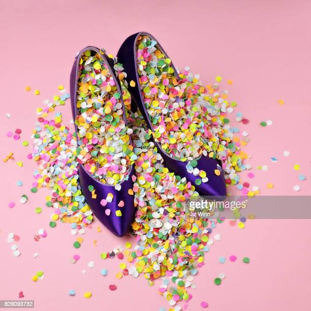 Shoes filled with confetti