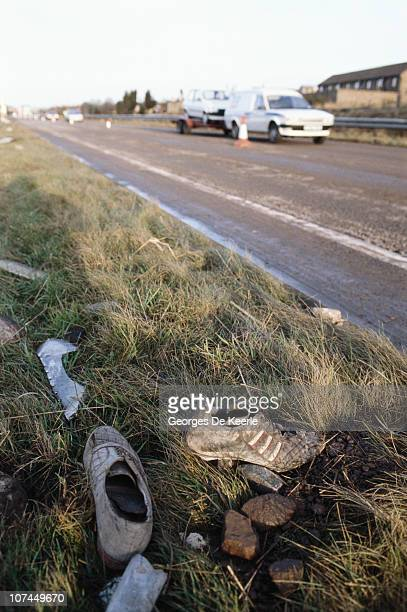 Shoes from the wreckage of Pan Am Flight 103 by a roadside in the town of Lockerbie in Scotland 22nd December 1988 On 21st December 1988 the Boeing...