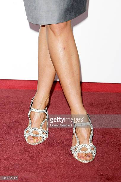 Shoes high heels of actress Jennifer Aniston seen at the German photocall of 'Der KautionsCop' at hotel de Rome on March 29 2010 in Berlin Germany