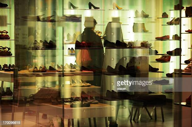 Shoes in brightly lit store