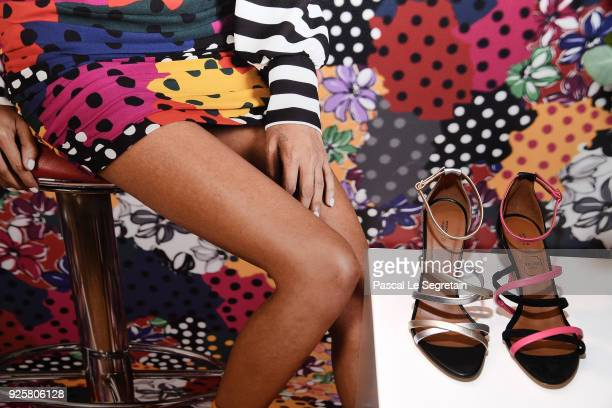 Shoes made for Emanuel Ungaro by Malone Souliers are on display during the Emanuel Ungaro presentation as part of the Paris Fashion Week Womenswear...