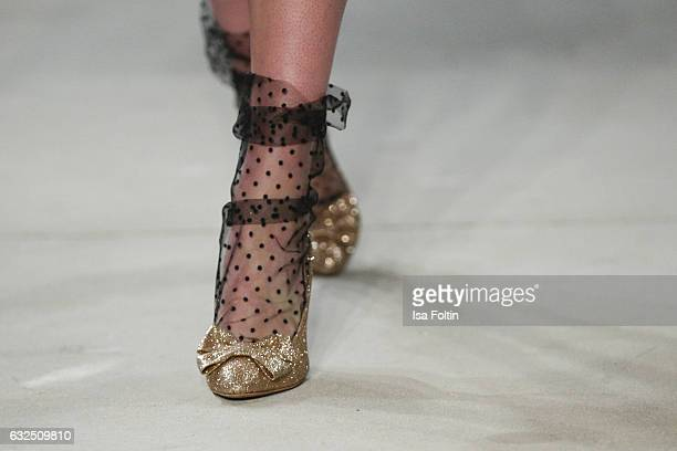 Shoes of a model at the runway at the Lena Hoschek show during the MercedesBenz Fashion Week Berlin A/W 2017 at Kaufhaus Jandorf on January 17 2017...