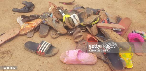 Shoes of abducted boarding school students lie on the floor after 140 boarding students of Bethel Baptist School were kidnapped by gunmen in Kaduna,...