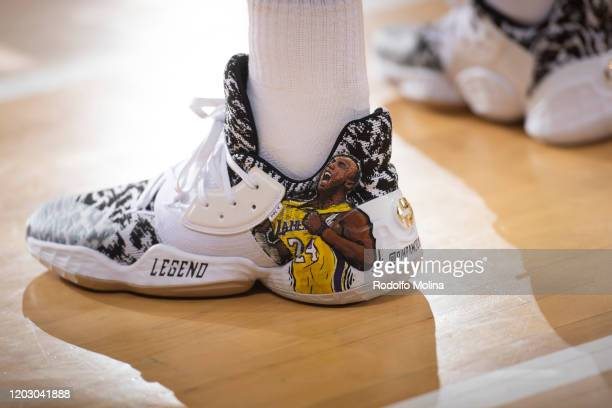 SHoes of Alex Abrines #21 of FC Barcelona customized in memorian to Kobe Bryant prior the 2019/2020 Turkish Airlines EuroLeague Regular Season Round...