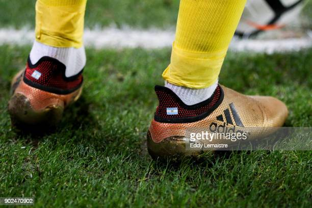 Shoes of Angel Di Maria of PSG during the french National Cup match between Rennes and Paris Saint Germain PSG on January 7 2018 in Rennes France