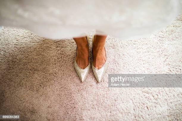 Shoes of Caucasian bride