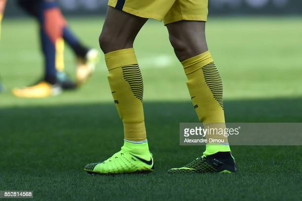 Shoes of Edinson Cavani of PSG during the Ligue 1 match between Montpellier Herault SC and Paris Saint Germain at Stade de la Mosson on September 23...