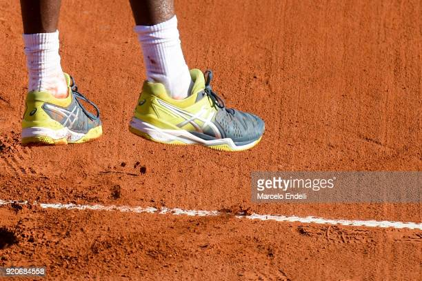 Shoes of Gael Monfils as he serves during a semifinal match between Dominic Thiem of Austria and Gael Monfils of France as part of ATP Argentina Open...