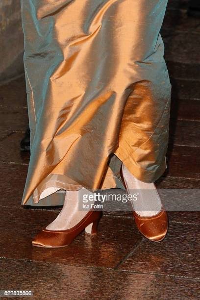 Shoes of German chancellor Angela Merkel as a detail during the Bayreuth Festival 2017 Opening on July 25 2017 in Bayreuth Germany