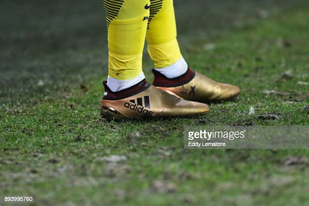 Shoes of Javier Pastore of PSG during the Ligue 1 match between Stade Rennes and Paris Saint Germain at Roazhon Park on December 16 2017 in Rennes