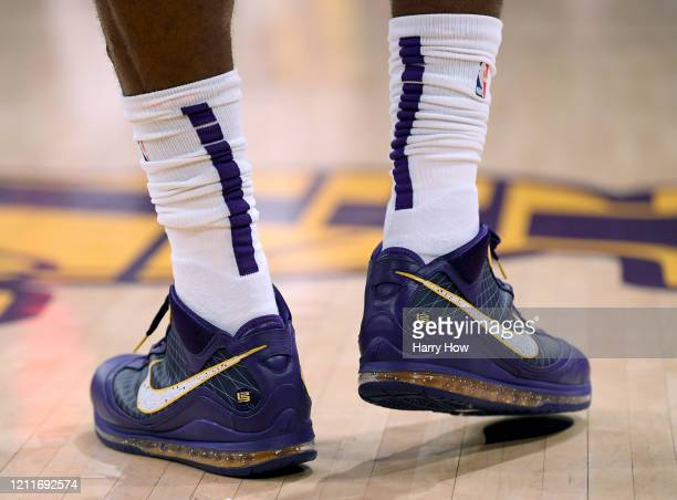Shoes of LeBron James of the Los Angeles Lakers during the first half against the Brooklyn Nets at Staples Center on March 10 2020 in Los Angeles...