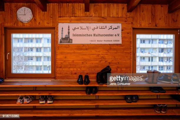 Shoes of mosque visitors stand on a shelf in the Muslim cultural center and mosque as Aydan Ozoguz German Federal Commissioner for Immigration...