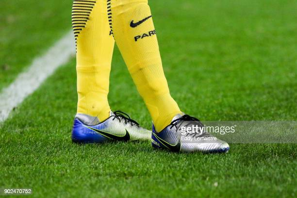 Shoes of Neymar of PSG during the french National Cup match between Rennes and Paris Saint Germain PSG on January 7 2018 in Rennes France