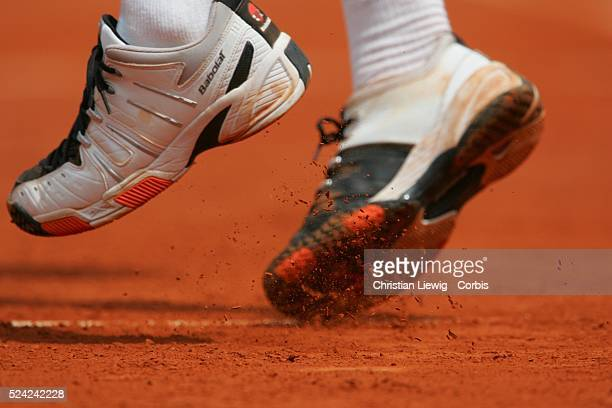 Shoes on a clay court at the Roland Garros Stadium