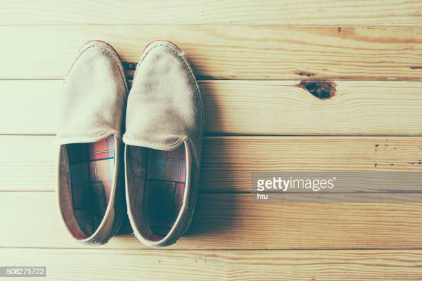 Shoes on a wooden background
