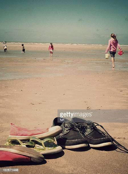 shoes on beach - le touquet paris plage stock pictures, royalty-free photos & images