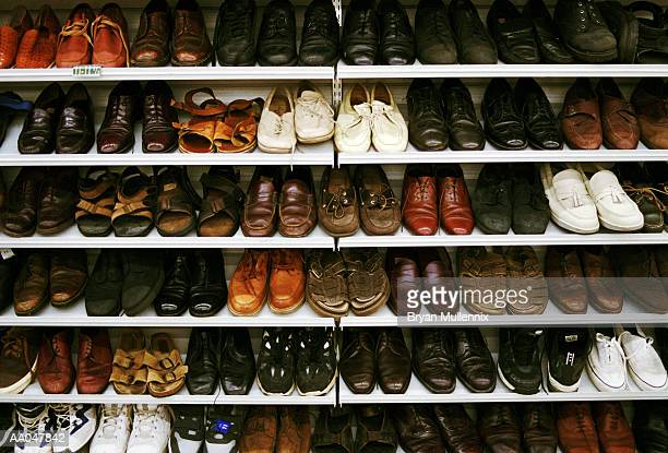 Shoes on rack at store