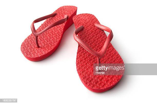 Chaussures: Tongs rouge