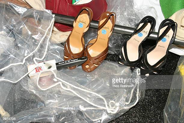 Shoes sit backstage at the Jeffrey Chow Fall 2004 during Olympus Fashion Week February 12 2004 in New York City