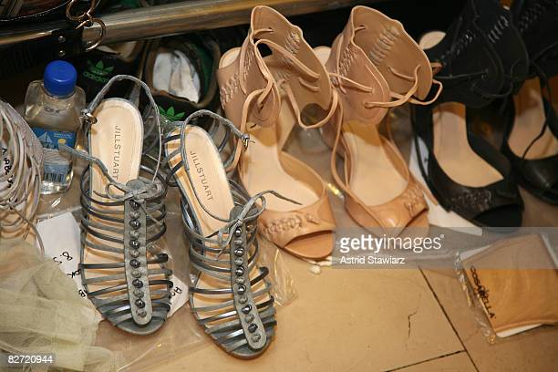 Shoes sit backstage at the Jill Stuart Spring 2009 fashion show during MercedesBenz Fashion Week at Astor Hall/NY Public Library on September 8 2008...