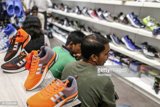 Shoes sit on display at a Big Bazaar hypermarket operated by Future Retail Ltd in Mumbai India on Sunday April 16 2017 Future Retail India's biggest...