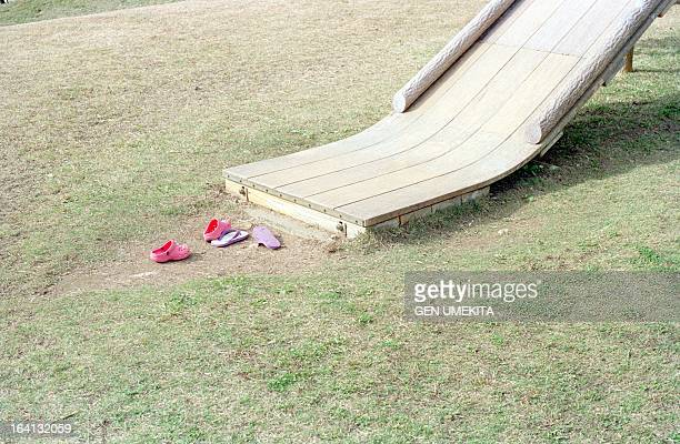 Shoes taken off in the park