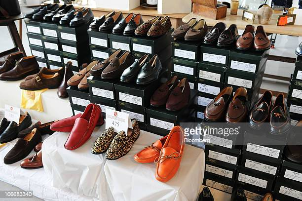 Shoes that once belonged to Bernard Madoff are displayed during a media preview of the auction of personal property that once belonged to Bernard and...