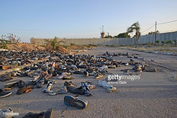 Shoes thrown at Israeli soldiers during a demonstration by protesters near the terminal Eyal, outside Qalqiliya, the palestinian city entirely...